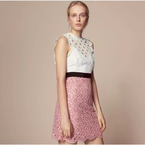 🎀SOLD🎀Sandro Gab White Pink Floral Lace Dress